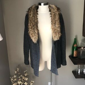 Joie | Jamillee C | Faux Fur Collar Wool Cardigan
